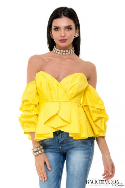 Tricou Antonio Bonnati New Collection COD: 529932 Top By Bacio Di Moda Yellow  COD: 1526